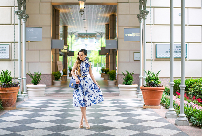 Teri jon blue floral print shirt dress, floral shirt dress, celine classic box bag, tory burch wedges, baublebar earrings, picnic outfit, dallas, rsthecon outfit, san francisco fashion blog
