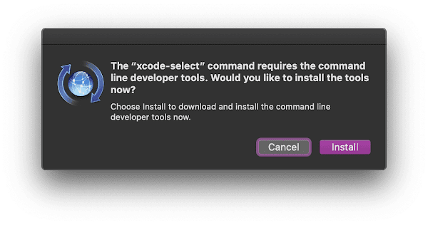 Xcode command line tools install confirmation