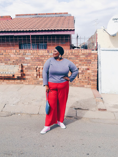 Nomalifromsoweto, south african plus size blogger, african blogger, how to style red trousers plus size fashion for women