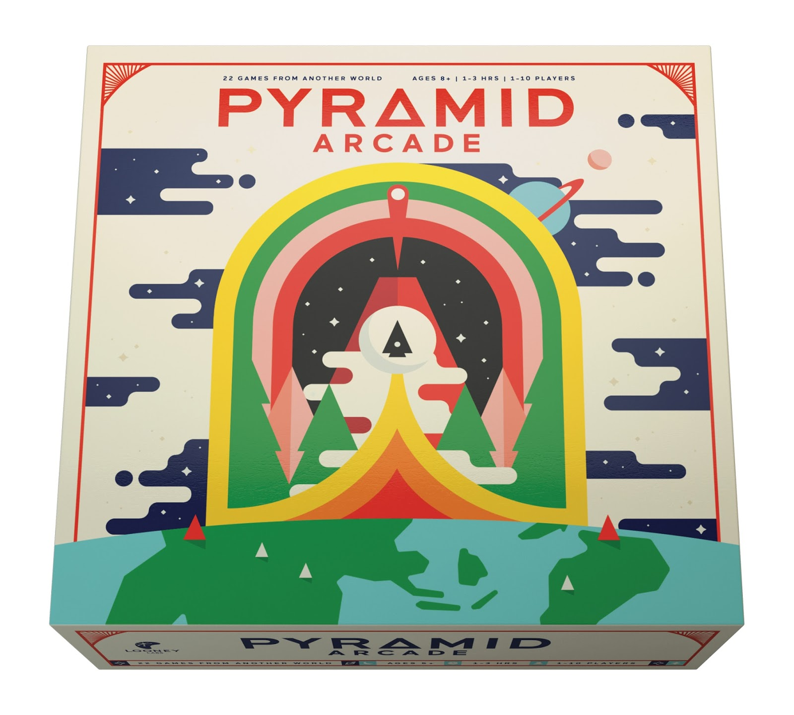 pyramid arcade board game on packaging of the world
