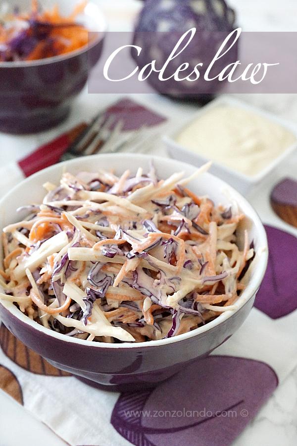 Ricetta per preparare in casa il coleslaw inglese con cavoli cappucci carote maionese recipe
