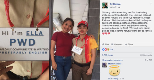 Jollibee PWD Staff Touched Customers Heart Becomes Viral
