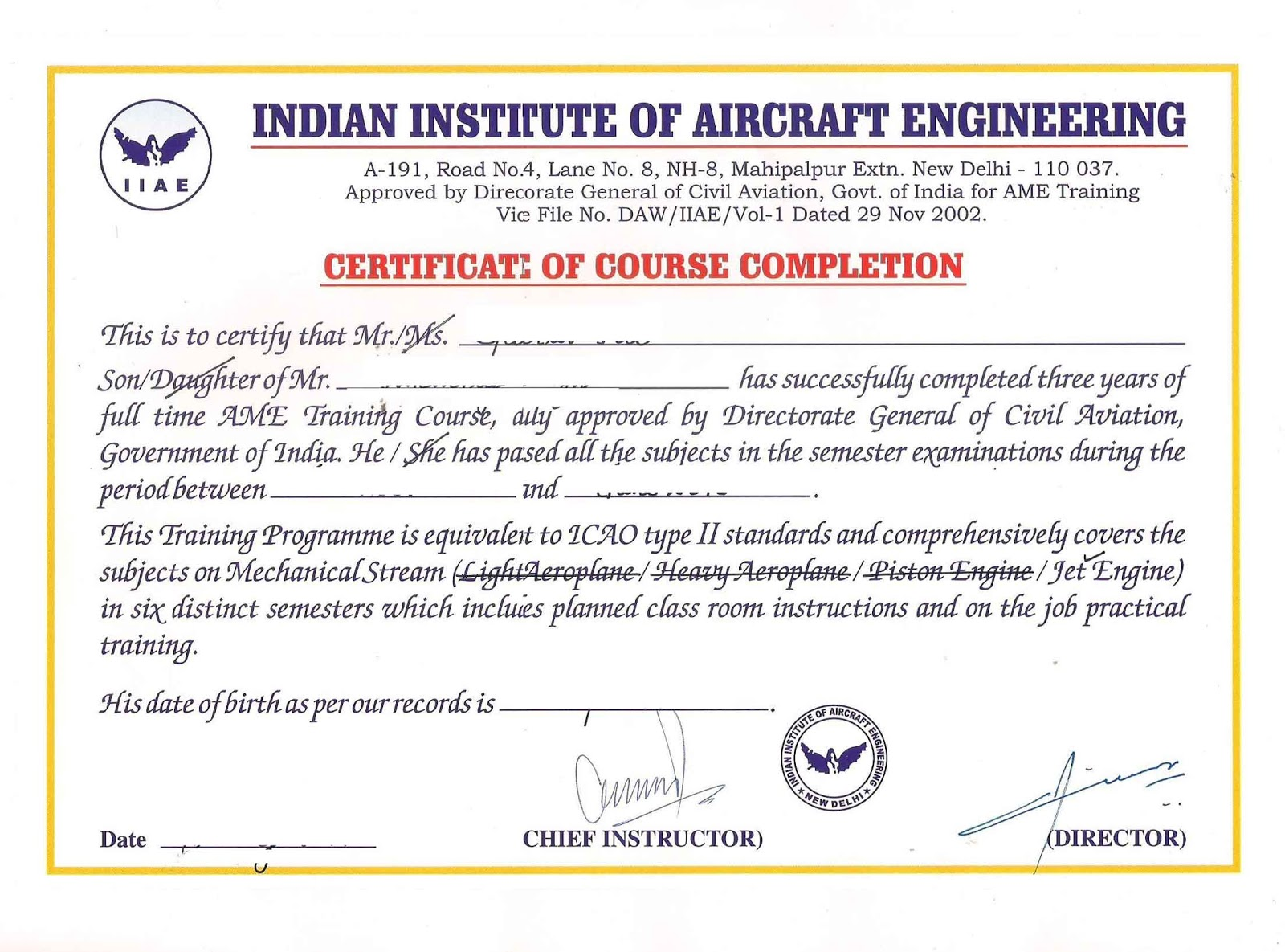 AME Certificate Of Course Completion Sample  Certificate Of Completion Sample
