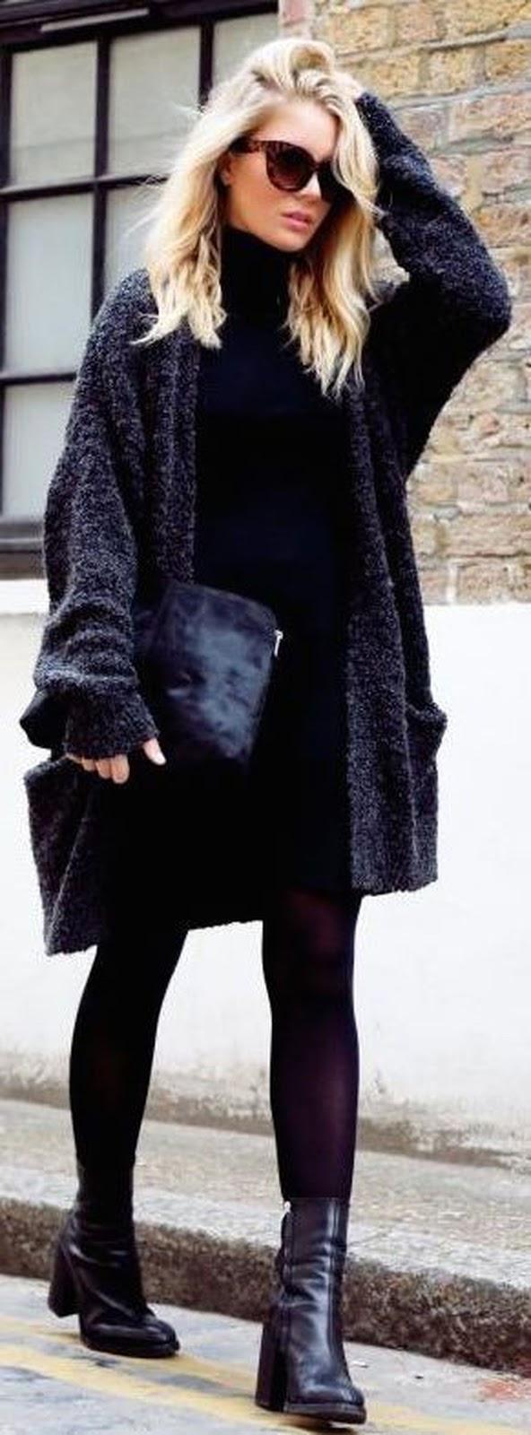 black on black / cozy cardigan + high neck sweater + clutch + skirt + boots
