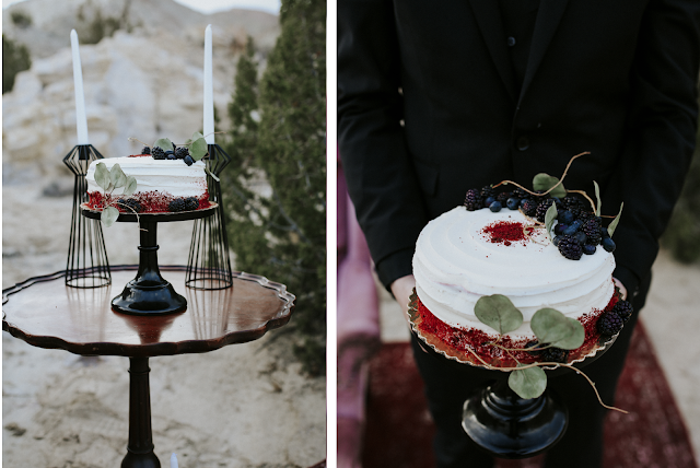 man holding wedding cake