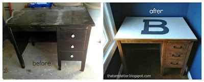 vintage teachers desk before and after