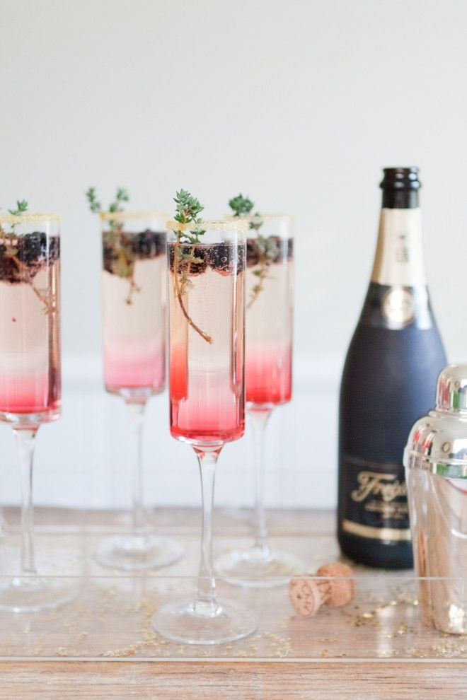 glamorous blackberry thyme champagne cocktail with recipe link