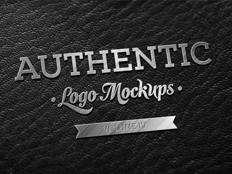 Dark Leather Metallic Logo Mockup