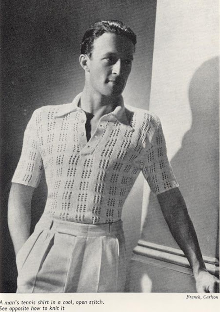 The Vintage Pattern Files: Free 1930's Men's Tennis Shirt Knitting Pattern