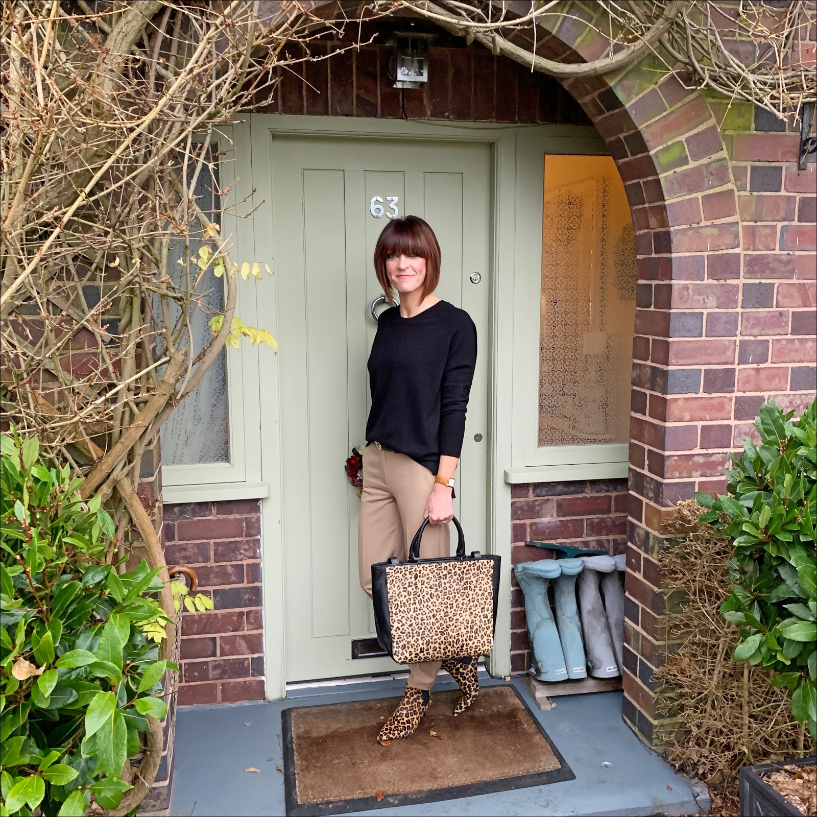 my midlife fashion, hush boyfriend cashmere round neck jumper, radley witney faux leopard print open tote bag, marks and spencer relaxed straight leg trousers, hush rye boots