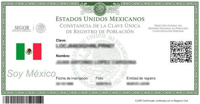 RENAPO Curp para imprimir en linea Sistema Nacional de Registro e Identidad (SID)