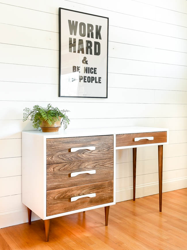 White milk painted mid century modern desk