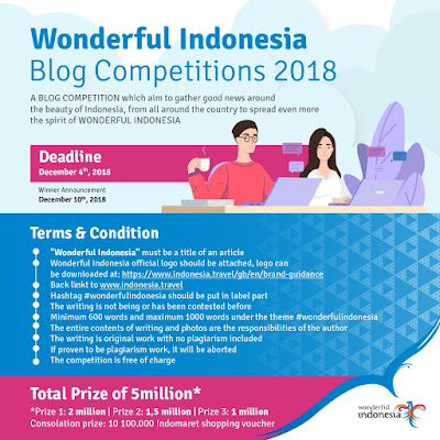 wonderful indonesia mengadakan lomba blog 2018