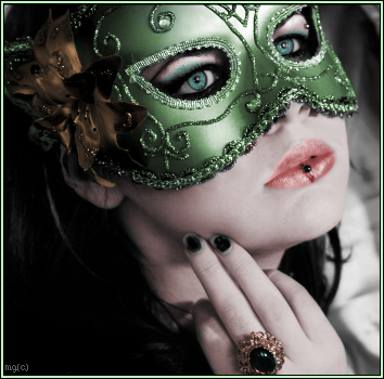 hooded masked woman