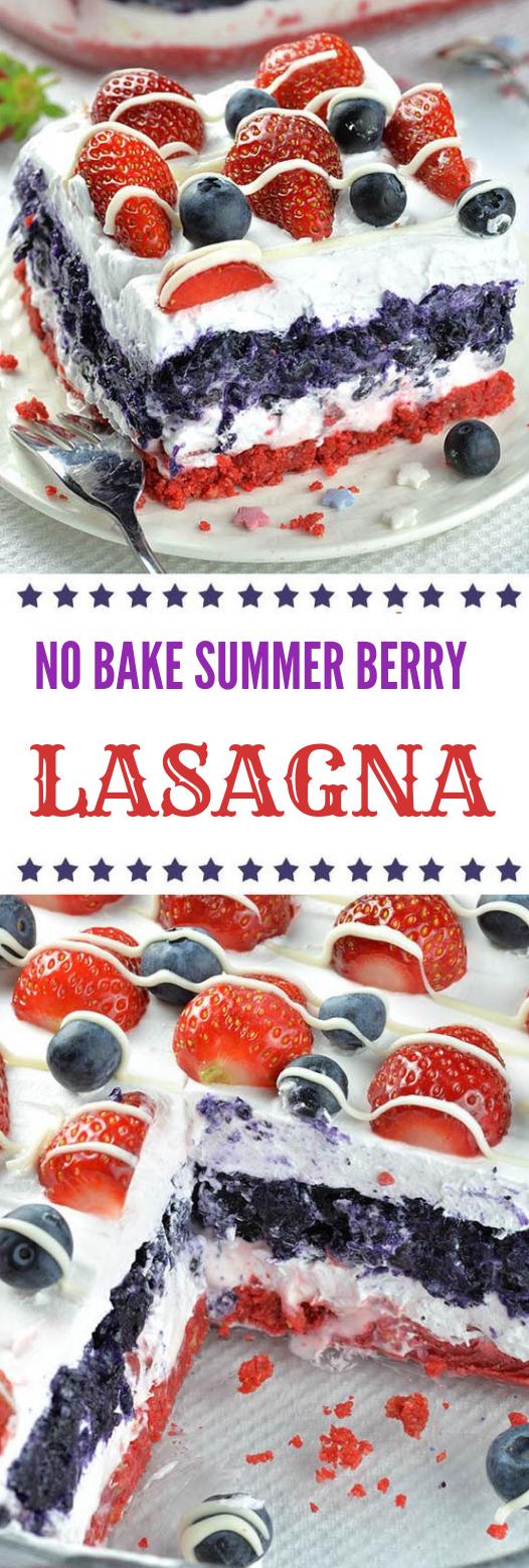 No Bake Summer Berry Lasagna #healthycake #lasagna