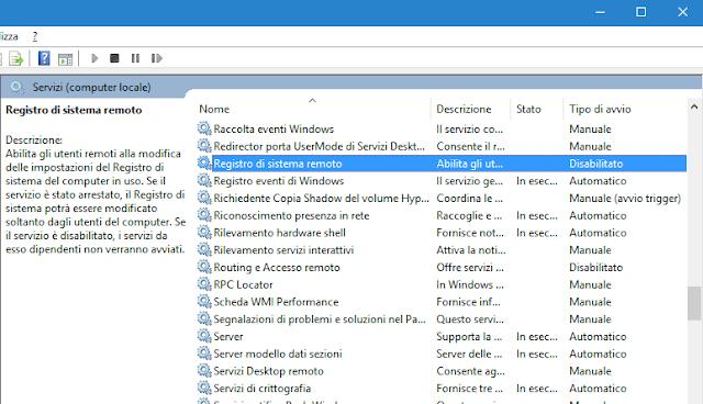Finestra Servizi di Windows