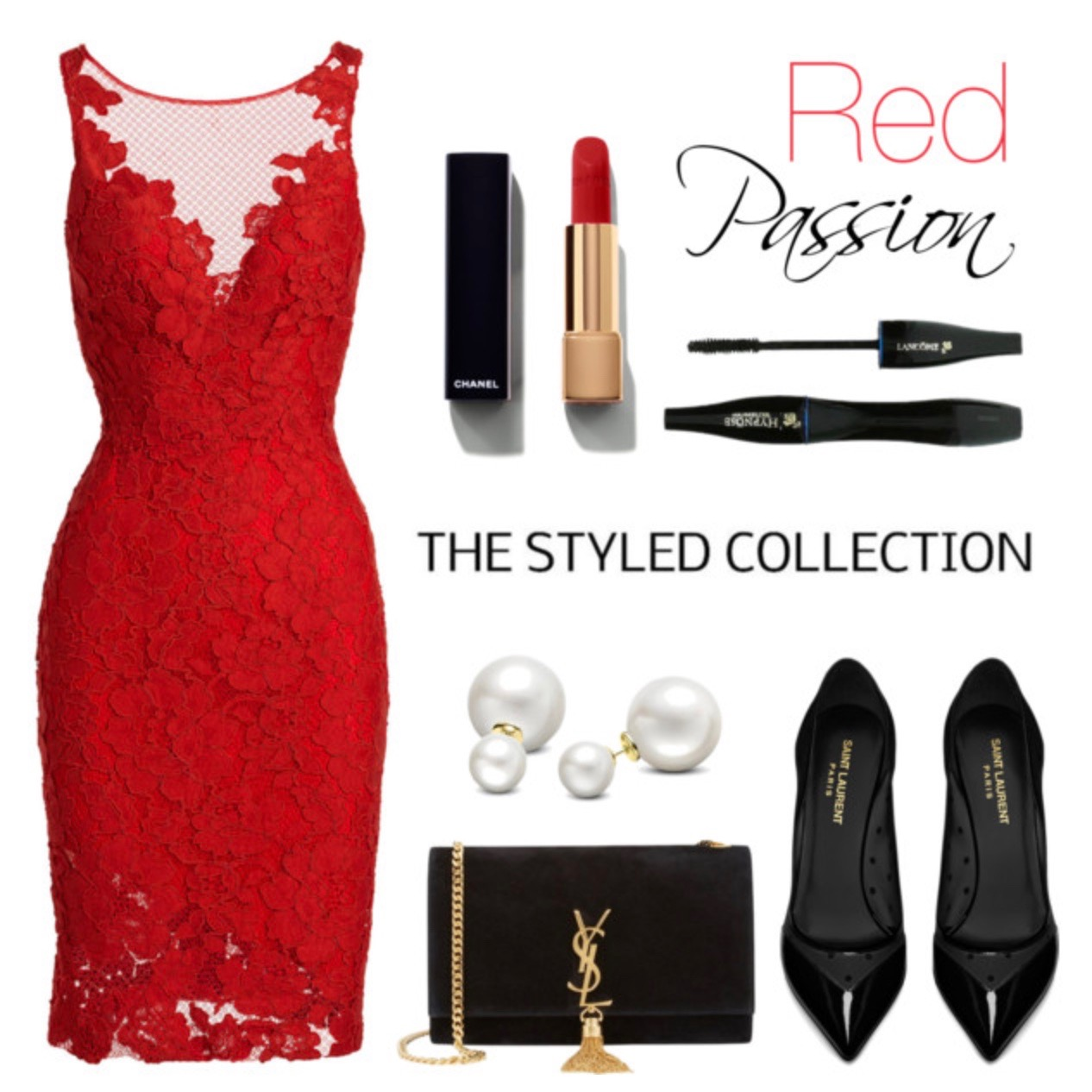 Red Lace Net Detailing Dress
