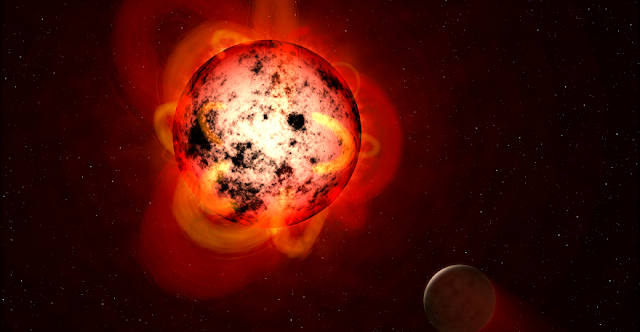 Artist's impression of a red dwarf star orbited by an exoplanet. Credit: NASA/ESA/G. Bacon (STScI).