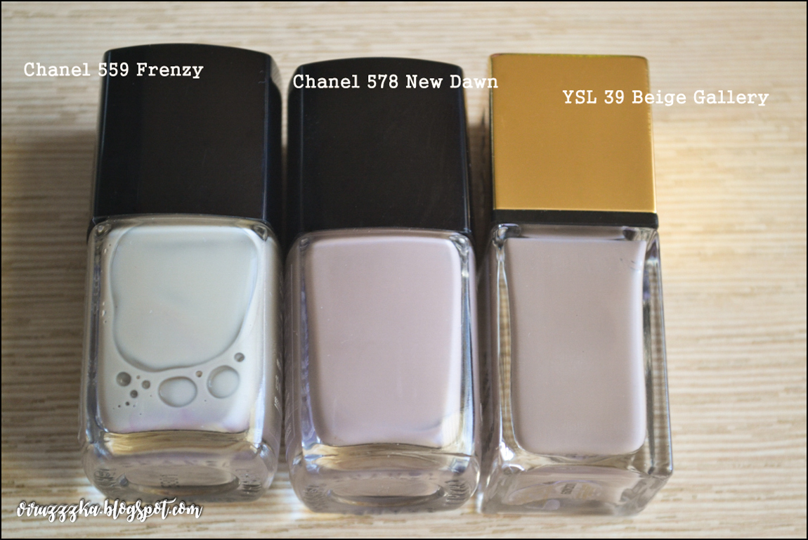 Chanel 578 New Dawn Chanel 559 Frenzy YSL 39 Beige Gallery Comparison