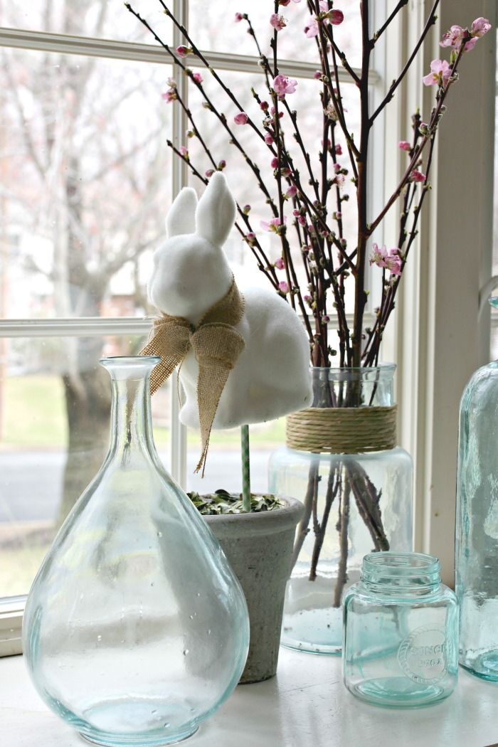 Spring branches from Trader Joes and assorted glass vases - www.goldenboysandme.com