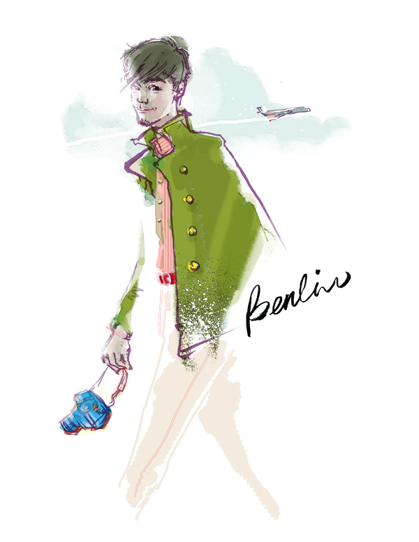 Javson Lee custom portrait fashion illustration, traveler with airplane in the sky, man in green wool double buttons coat