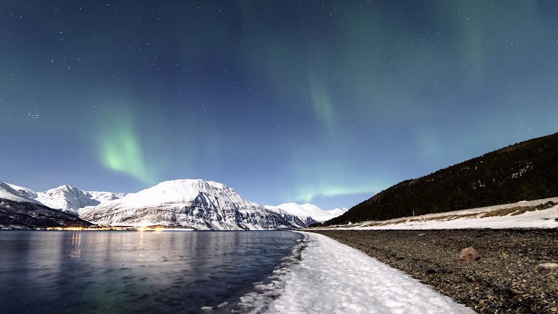 Landscape. Northern Lights. Aurora Borealis