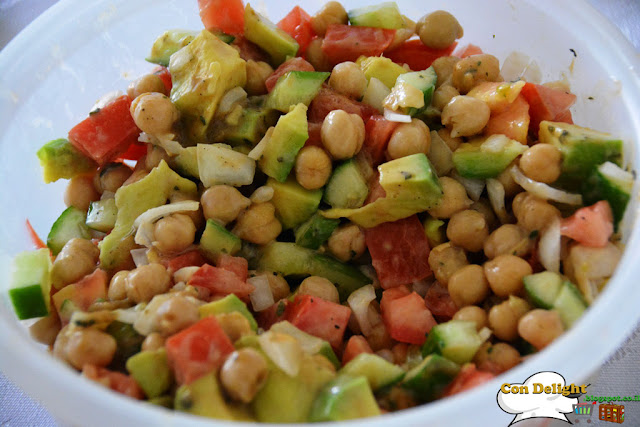chickpea, avocado and tahini salad