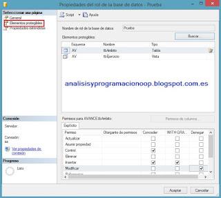propiedades de rol de la base de datos SQL Server
