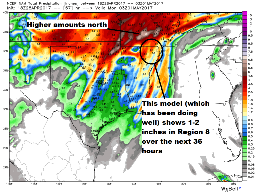 now could we still see 3 4 of rain under areas that see stronger storms yeah don t let your guard down the higher resolution wrf shows that isolated