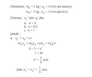 Pembahasan Soal Fisika Tentang Momentum, Impuls dan Tumbukan nomor 9