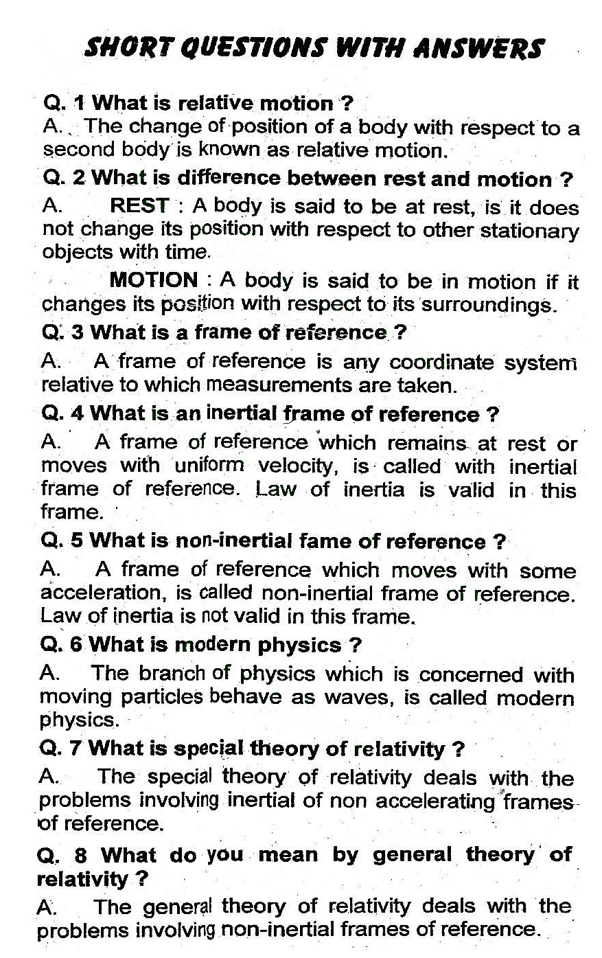 2nd Year Physics Chapter 19 Dawn of Modern Physics notes