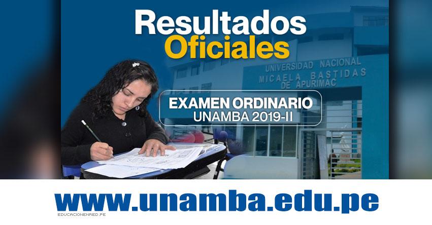Resultados UNAMBA 2019-2 (Domingo 11 Agosto) Lista de Ingresantes - Examen Admisión Ordinario - Universidad Nacional Micaela Bastidas de Apurímac - www.unamba.edu.pe
