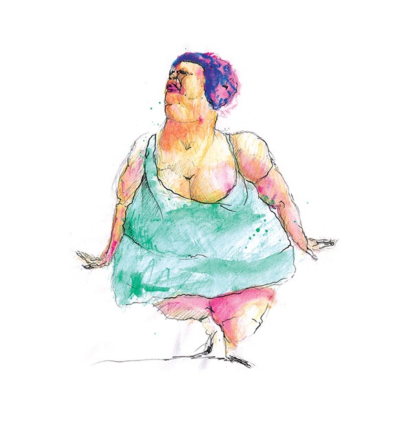 Green Dress: Real Life: A fat woman wearing a green dress (first depicted in Green Dress: Catwalk). Original watercolor and pencil drawing by Greek Artist Kostas Gogas.