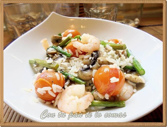 Salteado de arroz con langostinos esp rragos champi ones - Salteado de arroz ...