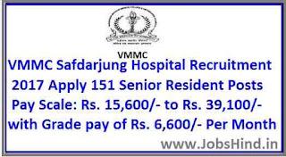 VMMC Safdarjung Hospital Recruitment 2017