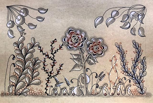 Alice hendon, Hahnemuhle Kraft Paper Sketch Book, inside garden page