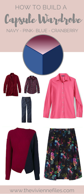 How to build a capsule wardrobe in navy, blue, pink, and cranberry