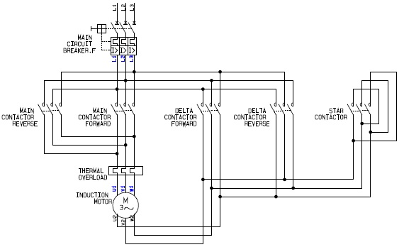 electrical schematic diagram for the power circuit of a forward reverse  star (wye) delta motor controller