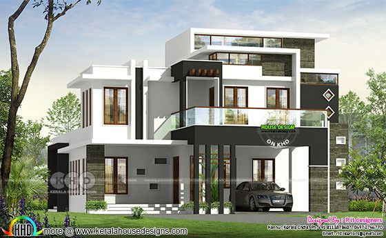3 BHK contemporary house plan architecture