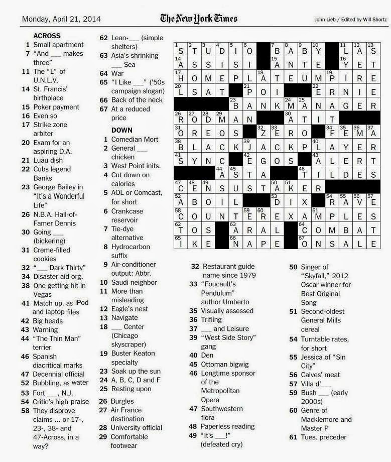 The New York Times Crossword in Gothic: 04.21.14