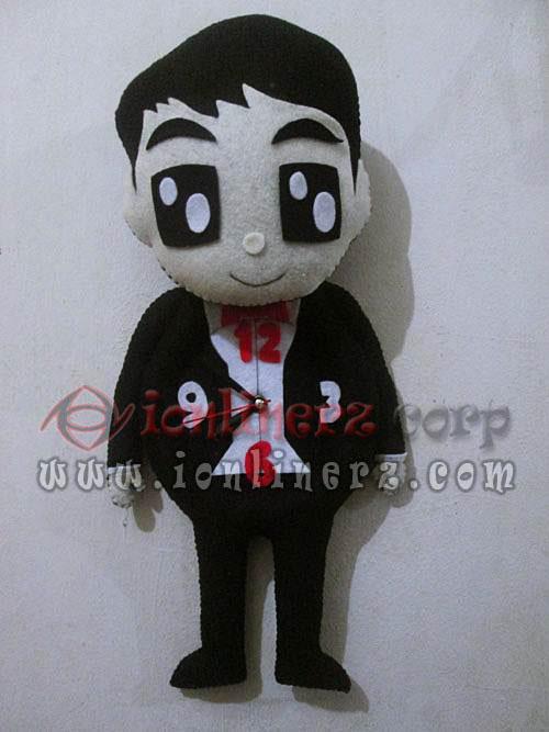 Jam Dinding Flanel Karakter Kartun Boneka Pasangan / Couple / Pengantin / Pernikahan