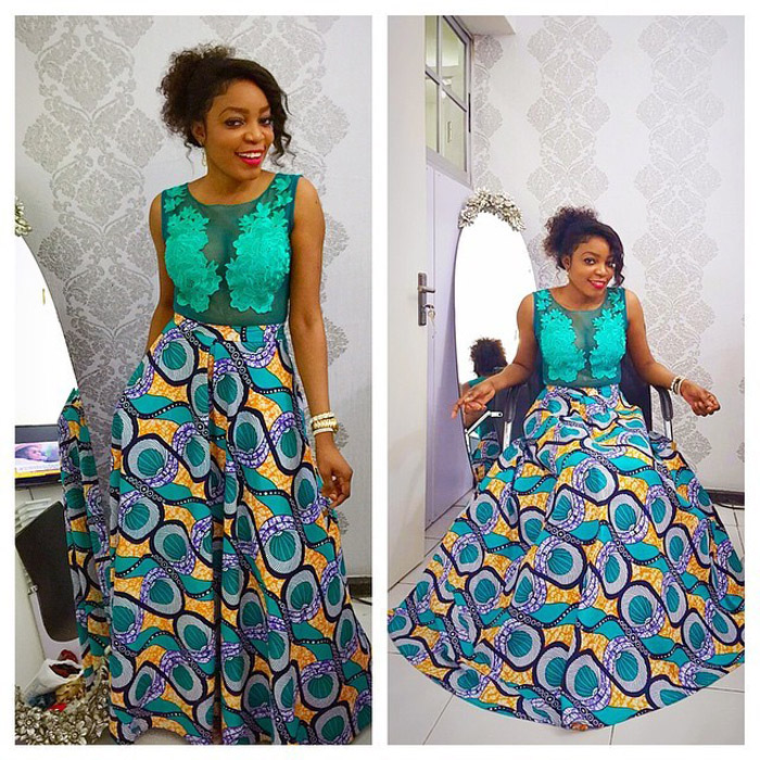 plain and pattern ankara gown (11)