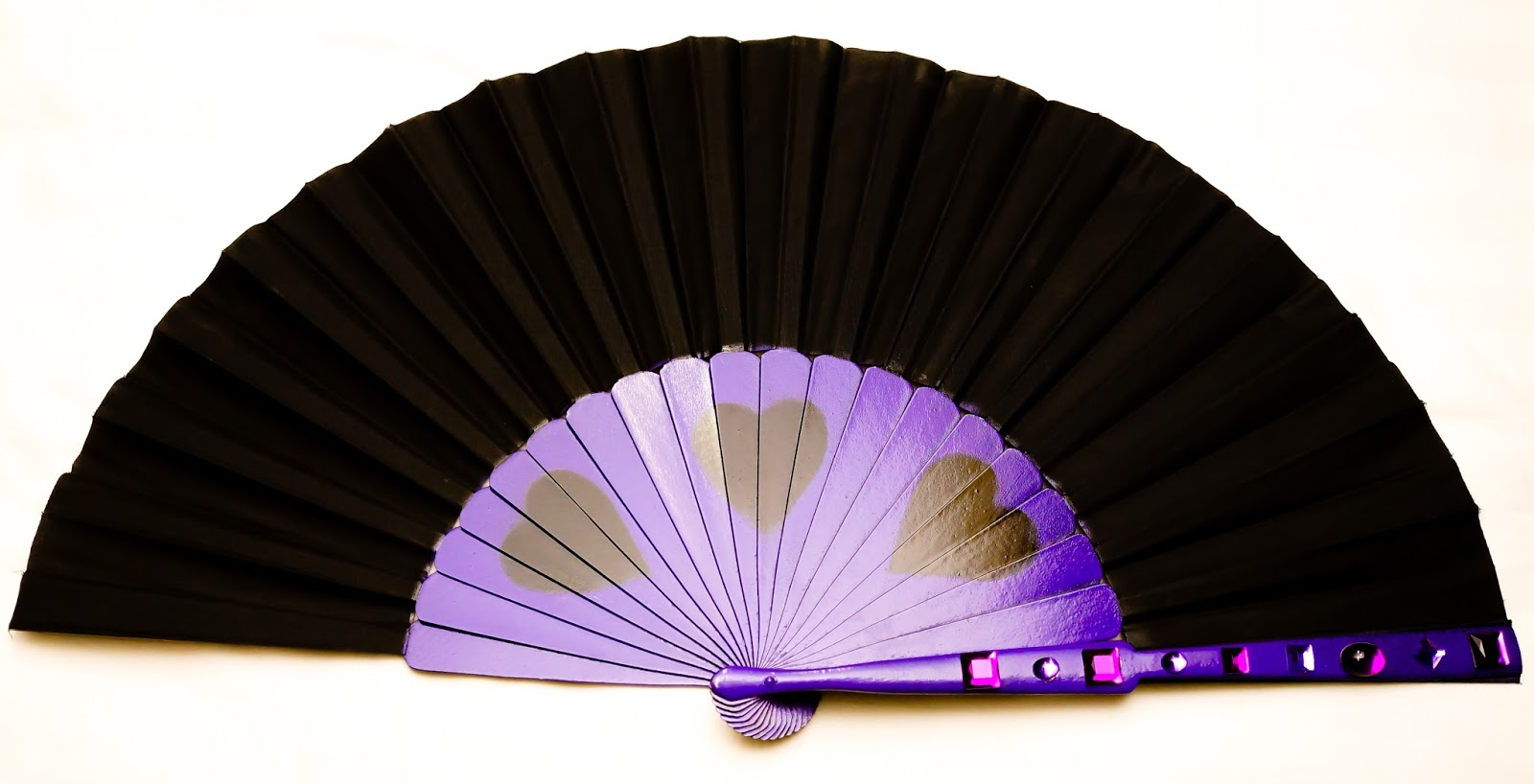 dengradesign purple black hand fan gem christina aguilera