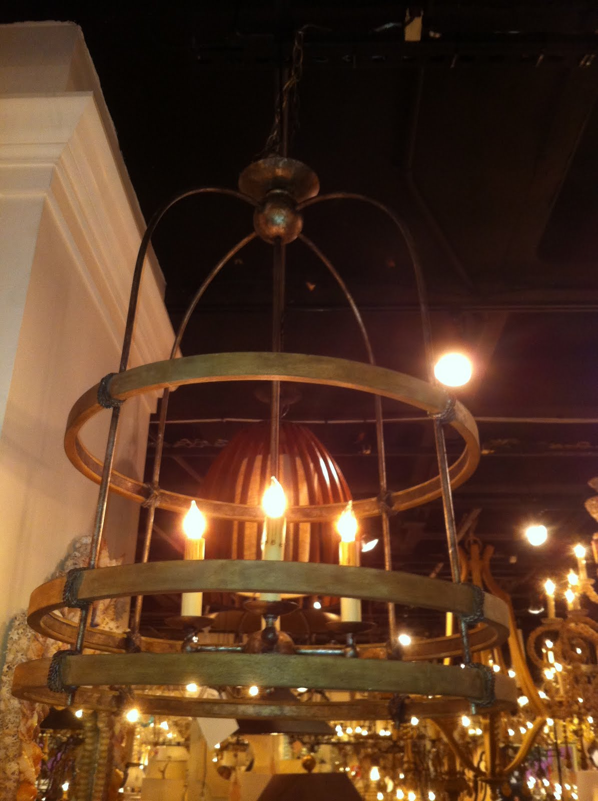 What Would You Call This Style Lantern Chandelier It Was Very Rustic Like Pieces From An Old Oak Barrel Which Is Why My First Thought Use In