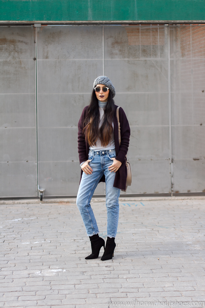 look con Boina y maxi cardigan de lana, los mejores aliados contra el frío