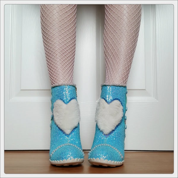 wearing Irregular Choice Bee Delicious fluffy fur heart boots