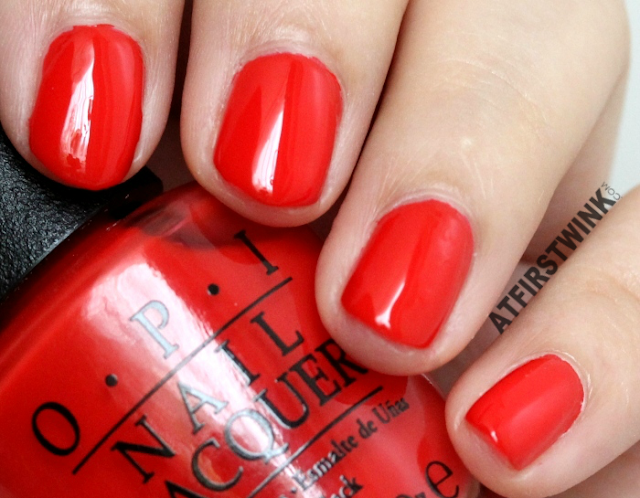 OPI nail lacquer - I STOP for Red swatches close up