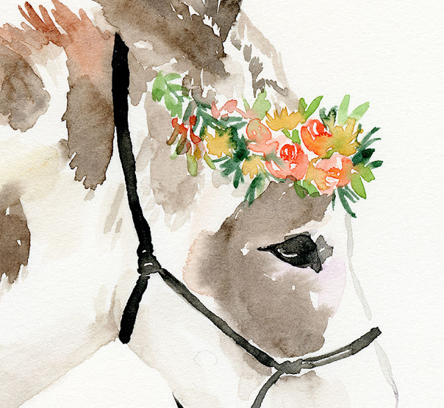 Watercolor Horse with Floral Crown