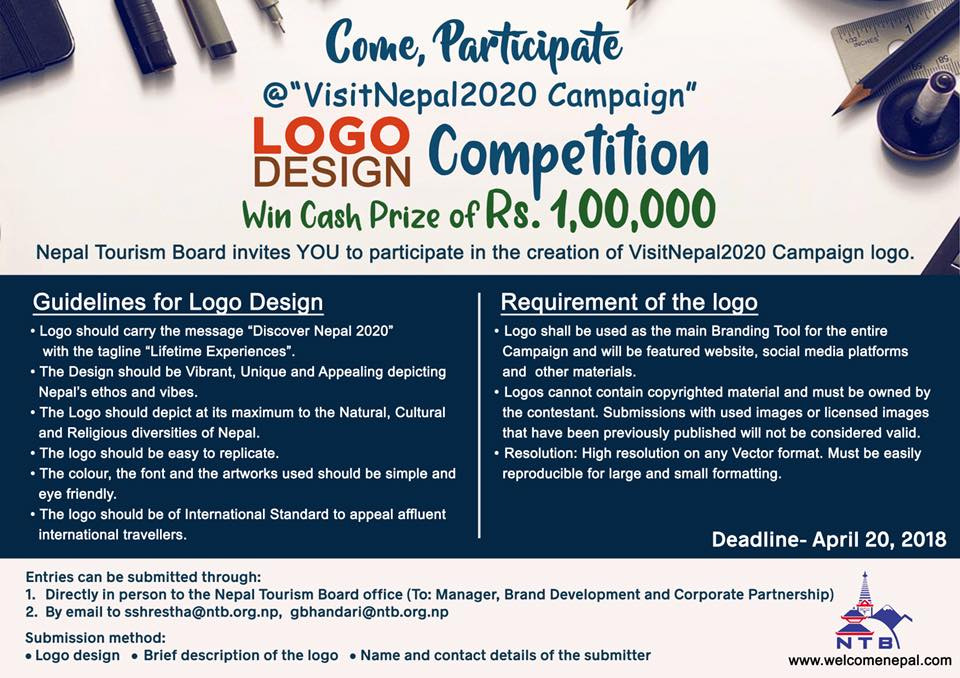 Logo Design Competition at Visit Nepal 2020 Campaign ...