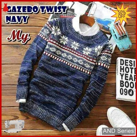 AND375 Sweater Pria Gazebo Twist Biru Navy BMGShop